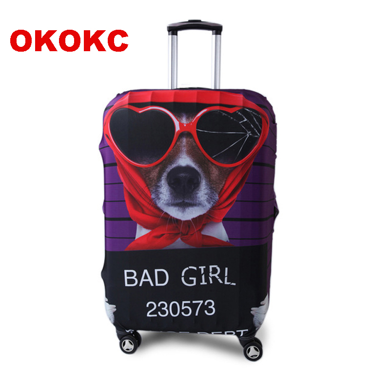 OKOKC Cartoon Dog Elastic  Luggage Protective Cover For 19''-32'' Trolley Suitcase, Travel Accessories