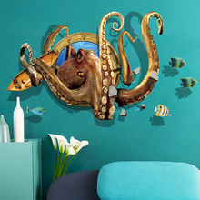 3D deep sea Octopus wallsticker Childrens bedroom student dormitory Background decorative stickers Removable pvc wallpaper