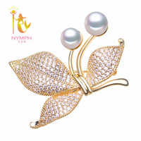 NYMPH Pearl Jewelry Real Natural Pearl Brooches Wedding Bouquets Stone Pins For Cloth Cherry B12