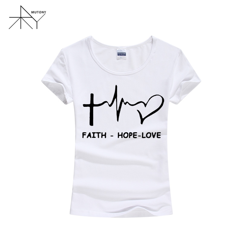 abcd04ec5584 Aliexpress.com : Buy New Summer Style Faith Hope Love Christian T shirt  Funny christianity god Girls Gift T Shirt Woman Casual Short Sleeve Top  Tees from ...