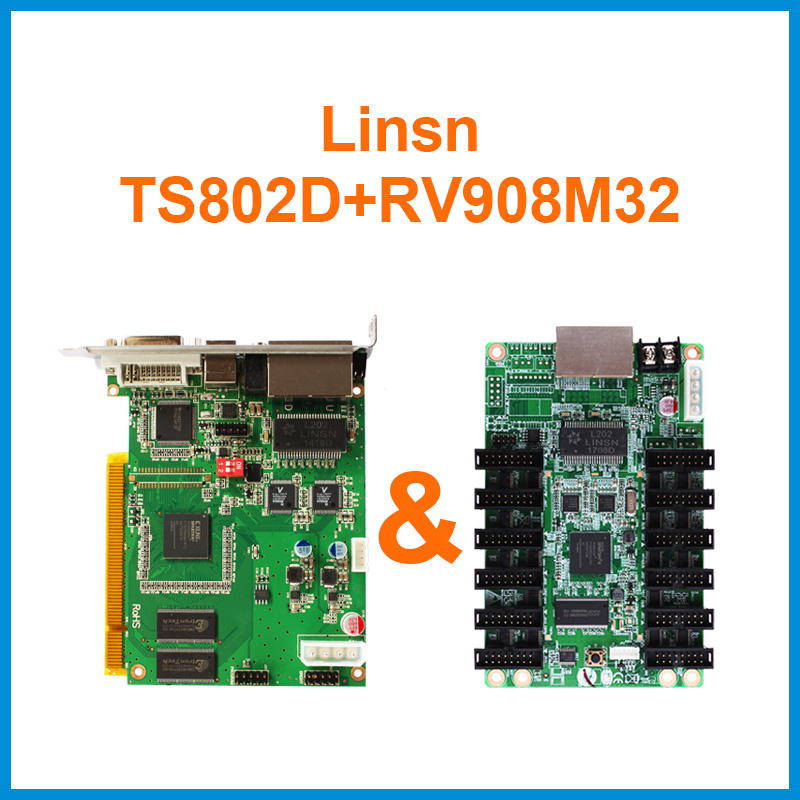 Linsn Control System Led Screen Panel Video Sending Card Ts802d With One Piece Rv908m32 Receiving Card Free Shipping