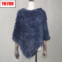 Fashion Real Rabbit Fur Poncho Genuine Real Rabbit Fur Shawl Scarf Knitted Elastic Women Party Real Natural Rabbit Fur Pashmina