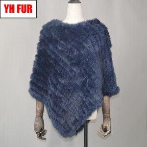 Image 1 - Fashion Real Rabbit Fur Poncho Genuine Real Rabbit Fur Shawl Scarf Knitted Elastic Women Party Real Natural Rabbit Fur Pashmina