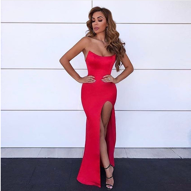 bfc615f3a55d3 Good Quality Sexy Strapless Shiny Red Long Party Dress Split Leg Stretchy  Bodycon Tight Package Hips Backless Maxi Dress