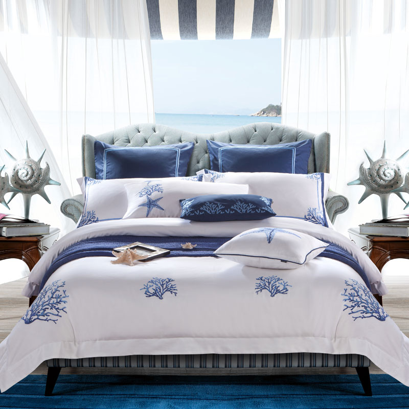 4pcs 100% Cotton white blue Luxury Bedding Sets Bed clothes King Queen Duvet Cover Bed Sheet Linens set Pillowcases Hotel bed
