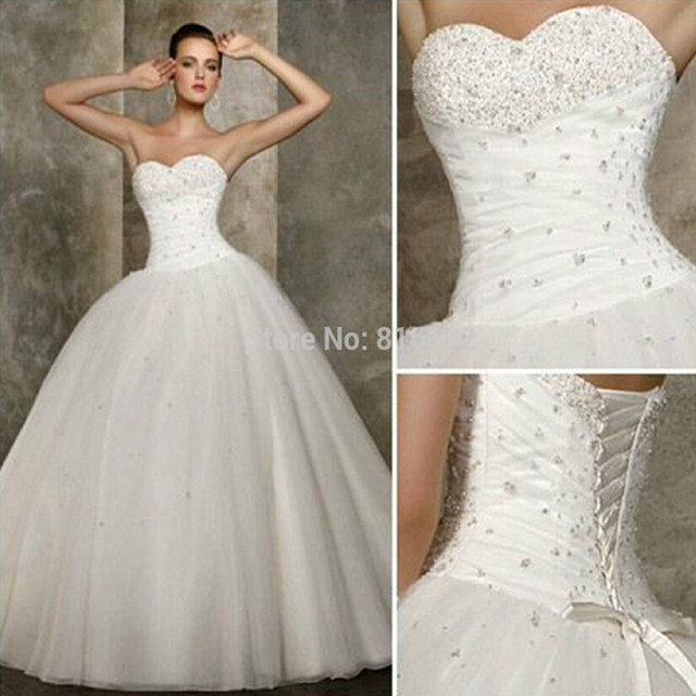 2016 New White Quinceanera Dresses Ball Gowns Sweetheart Beading ...
