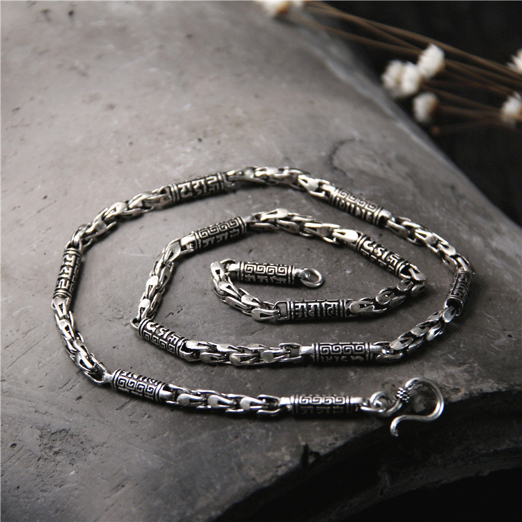Starfield Sanakrit S925 Sterling Silver Retro Thai Silver Six Words Scripture Necklace 5MM Rough Chain Men's Personality Chain