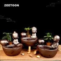 110 В 240 В керамика мини фонтаны Гостиная фэн шуй аквариум статуя Будды круговорот воды Desktop карликовые деревья орнамент