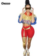 Genuo Color Block Women Tracksuit Patchwork Zipper Sheer Mesh Hooded Jacket Crop Top + Shorts Casual 2 Piece Set Club Outfits zipper up pocket color block hooded jacket