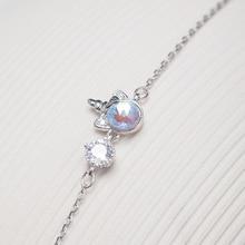 Unicorn S925 Silver Bracelet for Women Zircon and Crystal Cute Animal Handwear Female Fine Jewelry