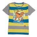 Nova desgaste de los niños del verano nuevas rayas 100% algodón dinosaurio chico camiseta 2016 nuevo diseño niños niños ropa ropa de alta calidad
