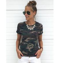 2017 Summer TShirt Round Collar Short Sleeve Pink Army Green Camouflage Print T Shirt For Women Fashion Tops Tees T-shirts Blusa