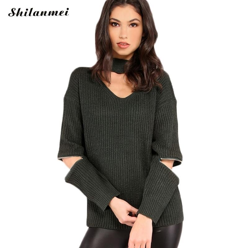 2017 fashion Autumn Winter Women sweater causal long sleeve zipper design chorker pullover hollow green knitted top pull femme