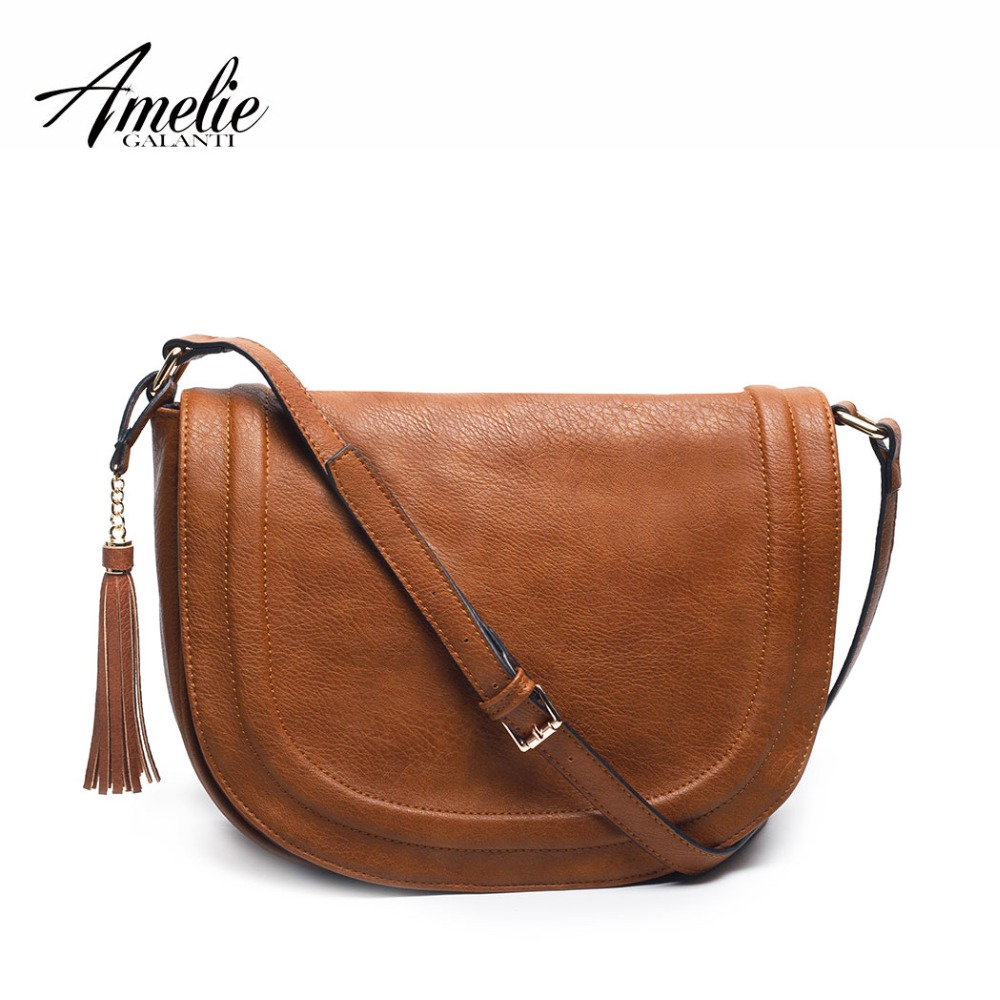 AMELIE GALANTI Large Saddle Bag Crossbody Bags For Women Brown Flap Purses  With Tassel Over The Shoulder Long Strap(China)