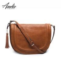 AMELIE GALANTI Large Saddle Bag Crossbody Bags for Women Brown Flap Purses  with Tassel Over the Shoulder Long Strap Shoulder Bags
