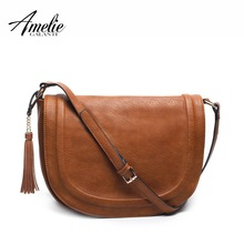 AMELIE GALANTI casual crossbody bag soft cover solid saddle tassel women messenger bags high quality shoulder bag for women   недорого