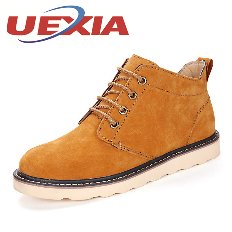 Autumn Winter New Men Casual Shoes Cow Suede Leather Work Shoes Mens Fashion Lace Up Breathable High Top Shoes Zapatos Hombres