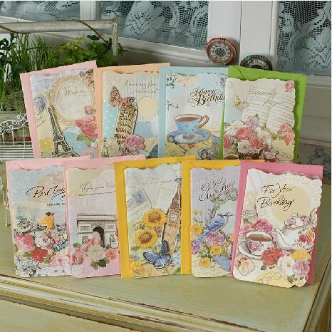 Classic European Vintage Style Greeting Cards W Envelopesretro Handmade Birthday