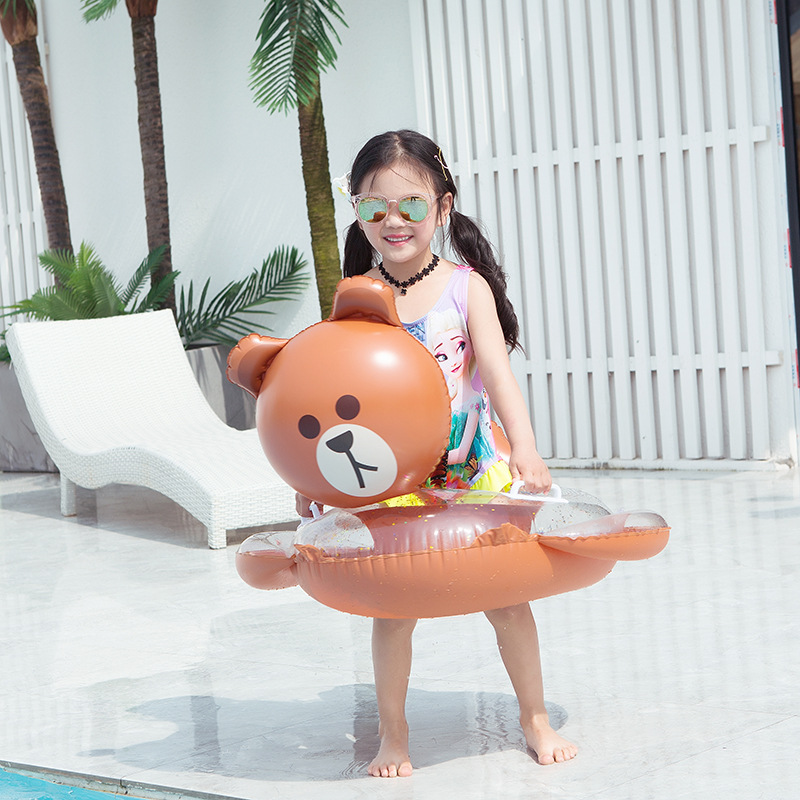 Rooxin Baby Swimming Ring Cat Pig Bear Inflatable Circle Pool Party Toys Kids Baby Float Seat Swimming Pool For 1-9 Years Old