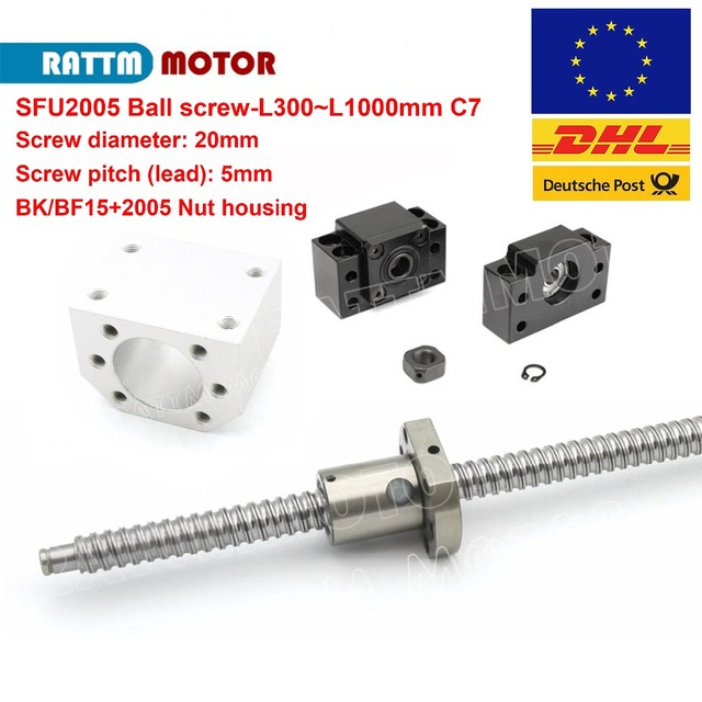 EU Delivery! SFU2005 Ball screw 300mm~1000mm end machined+BK/BF15+ball screw nut+nut housing for router machine
