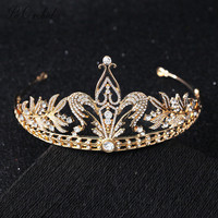 PEORCHID Gold Wedding Crown For Brides Queen Crystal Hair Accessories Princess Bridal Tiara Bride Jewelry Hairwear Women 2019
