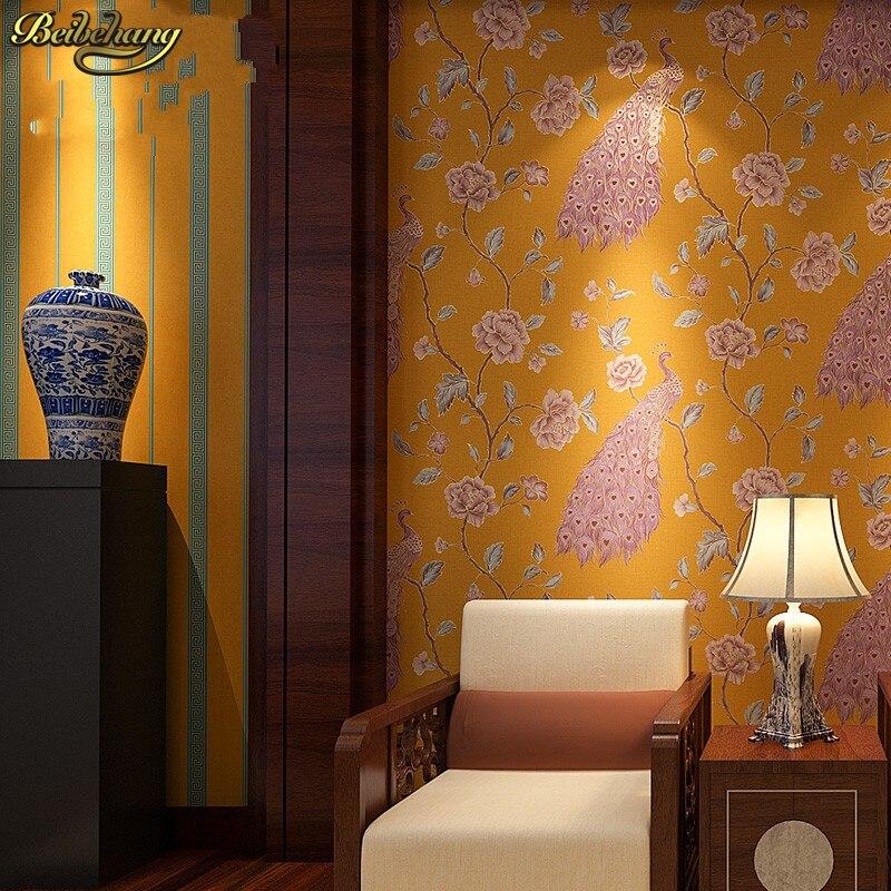 Beibehang papel parede papier peint mural de luxe paon broderie papier peint rouleau Floral oiseaux 3D papel de Parede Eco papier peint rouleau - 5