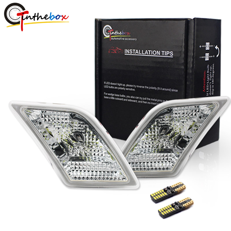 Gtinthebox Objectif Clair Side Marker Lumières w/Blanc LED Pour 2008-2011 Mercedes Benz W204 C250 C300 C350 c63 AMG Side Marker Lumières