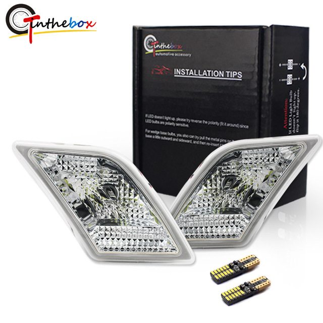 Gtinthebox luces laterales para Mercedes Benz W204, C250, C300, C350, C63, AMG, con LED blanco, transparente, para 2008 2011