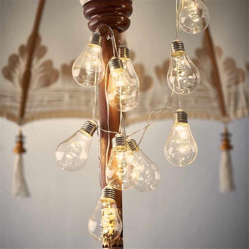 Vintage 4M 10 Led Bulb Fairy String Lights AA Battery Festoon Party Garlands Lighting For Wedding Garden Xmas Home Outdoor Decor