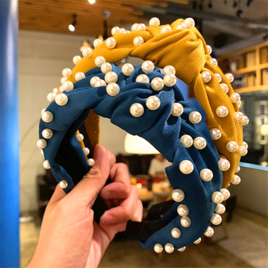 Haimeikang Solid Hair Knotted Hairbands Girls Women Headbands Imitation Pearls Hair Band Fashion Burgundy   Headwear   2019 New