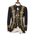 (Jacket+Vest+Bowtie) 2016 New Fashion Men Suits Slim Fit Embroidered Gold Royal gown Male Singer Compere Groom Wedding Tuxedo