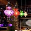 Mar mediterrâneo Retro vidro colorido Vintage pendente levou luzes luminárias para loja de roupas Bar DropLight suspensão luminária