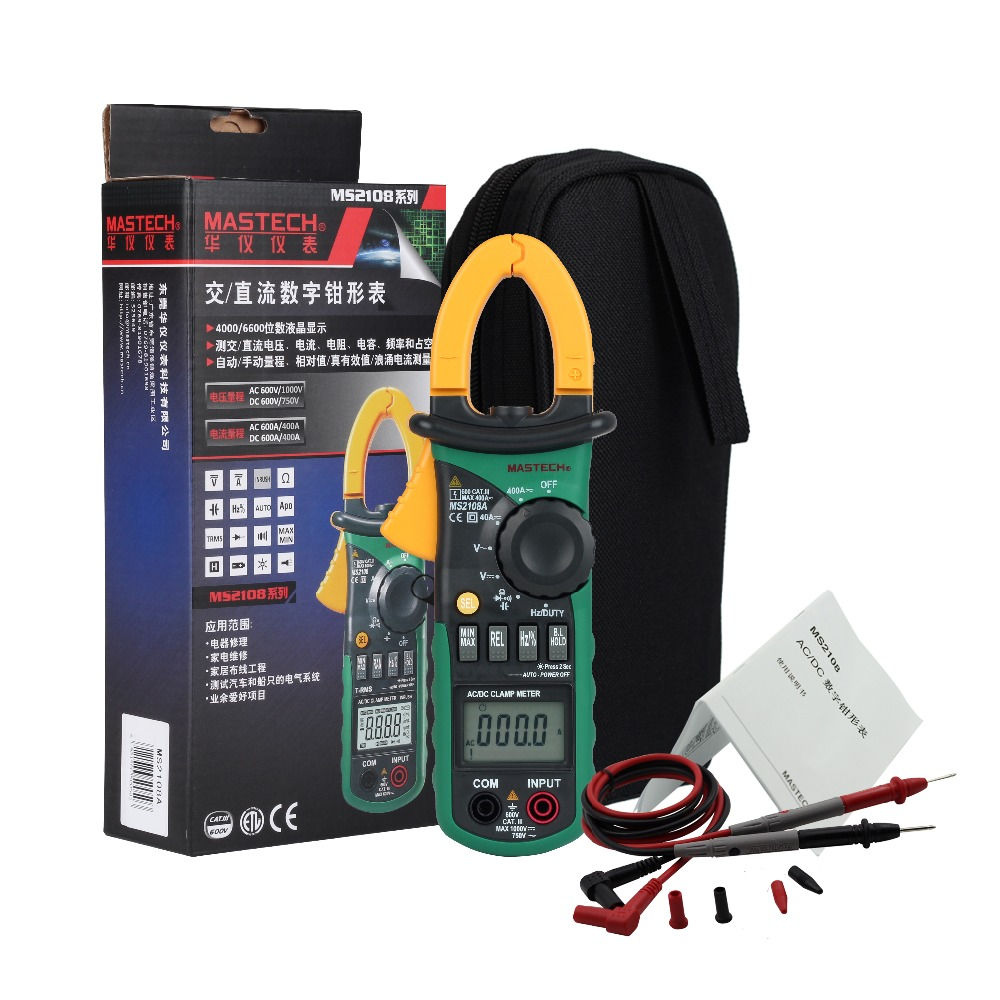Mastech MS2108A Digital Clamp Meter Auto Range DC AC Current Multimeter Voltage Frequency Tester