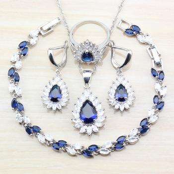 Niesamowite kobiety modne akcesoria komplety biżuterii niebiesko-biała bransoletka z cyrkoniami kolczyki kolczyki komplety tanie i dobre opinie Manny Della Miedzi CN (pochodzenie) Półszlachetnych kamieni Klasyczny Necklace Pendant Earring Ring Bracelet Zestawy biżuterii dla nowożeńców