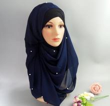 Womens Flower Print Pearls Head Coverings Muslim Chiffon Hijabs Long Bonnet Hijab Underscarf Caps Islamic Scarf Scarves