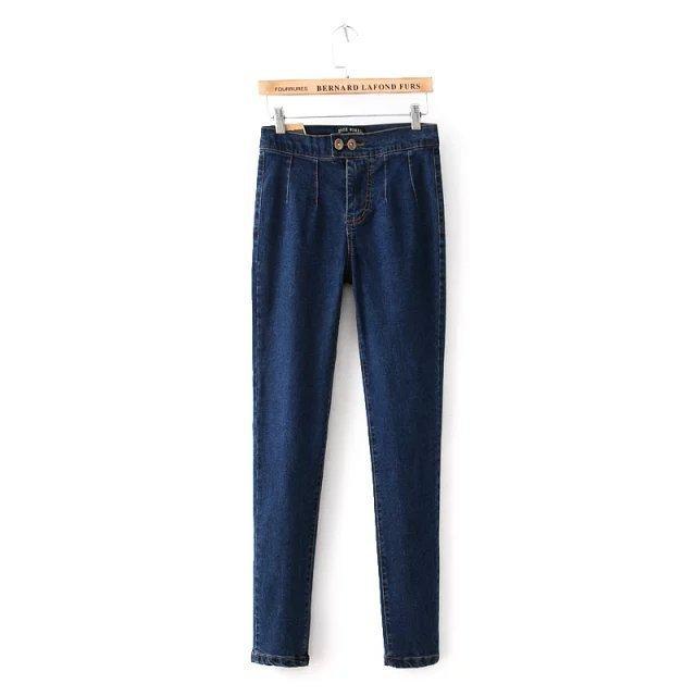 2016 Women's Clothes For Autumn Jeans Cotton High Waist Solid Button Elastic Female Denim Pencil Trousers S-2XL