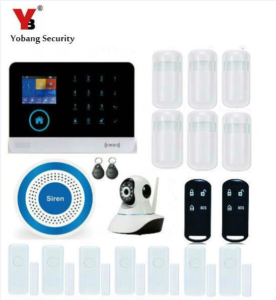 YobangSecurity Home Security Android IOS APP WIFI GSM GPRS Alarm System with PIR Motion Detector IP Camera Smoke Fire Sensor yobangsecurity wifi gsm gprs home security alarm system android ios app control door window pir sensor wireless smoke detector