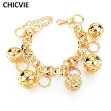 Chicvie золотые браслеты на цепочке и звеньях с полыми шариками