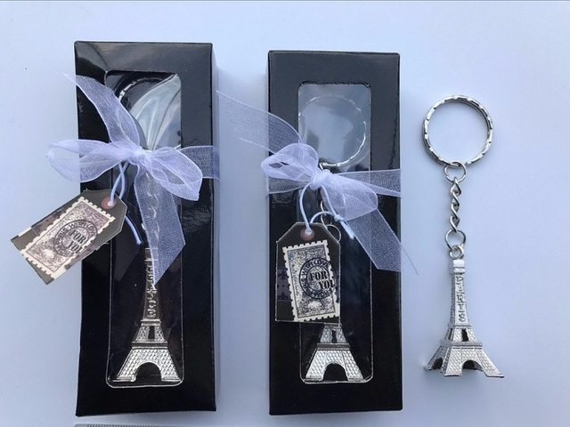 100pcs Silver Eiffel Tower Key Chain In Gift Box Paris Themed Wedding Favors Party Giveaway