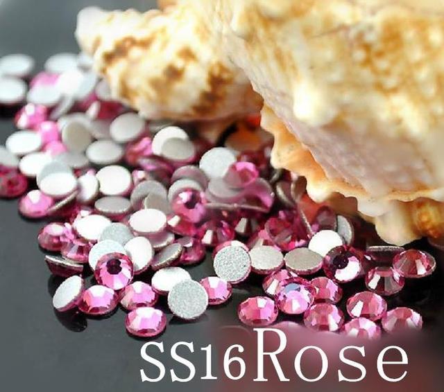 1440 pc/bag SS16 3.8-4.0mm Red Rose Não HotFix Natator Pedrinhas, Vidro Glitter Glue-on Solto DIY Da Arte Do Prego Cristais Pedras 16ss