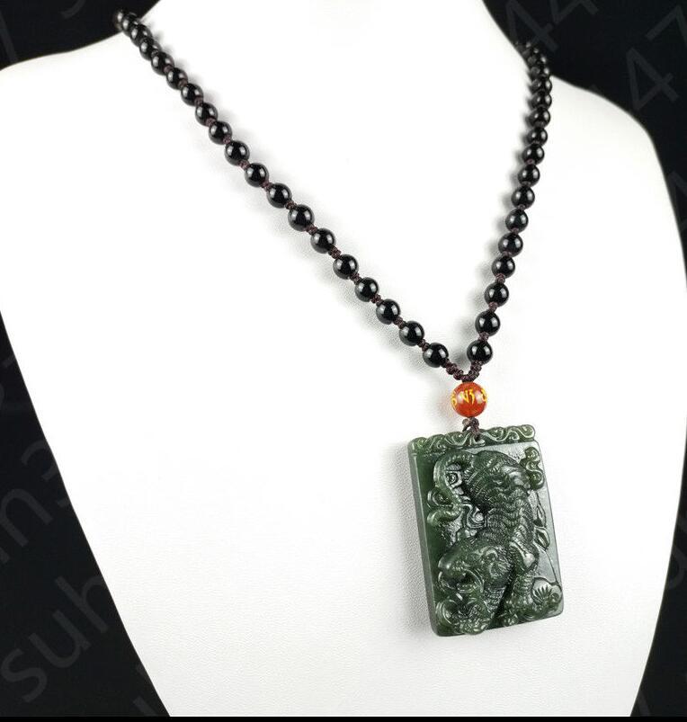 "8mm Beautiful Chinese Handcraft 100/% Natural Jade Green Jade Necklaces 18"""
