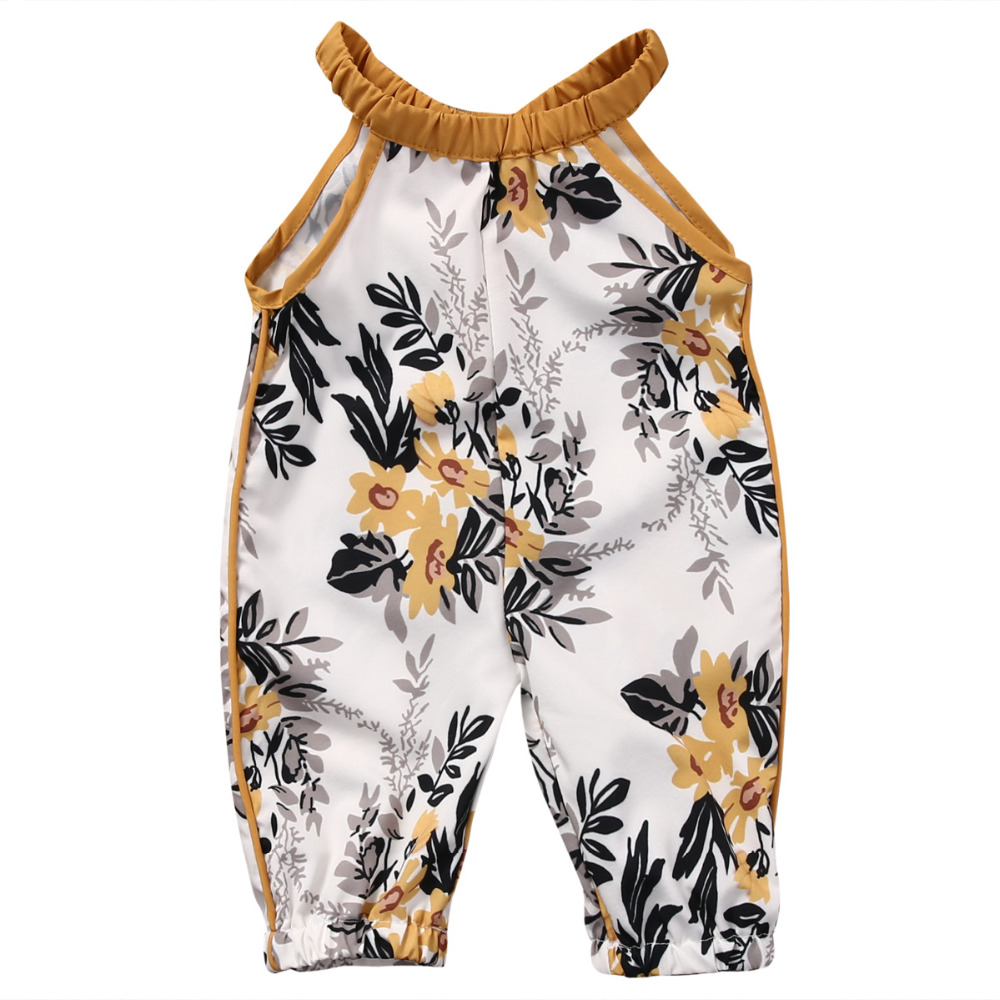 Baby Girls Clothing  Infant Baby Girls Floral Sleeveless Summer Jumpsuit Romper Clothes Outfits Set toddler baby girls romper jumpsuit playsuit infant headband clothes outfits set sleeve clothing children autumn summer