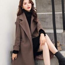 Ailegogo 女性ミディアムロング綿のコートカジュアルルーズフィットベルトターンダウン襟ジャケットコート生き抜く女性