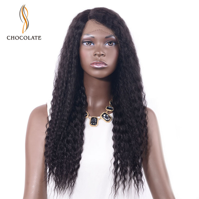 Chocolate Kinky Straight Remy Human Hair Lace Front Wig Bleached