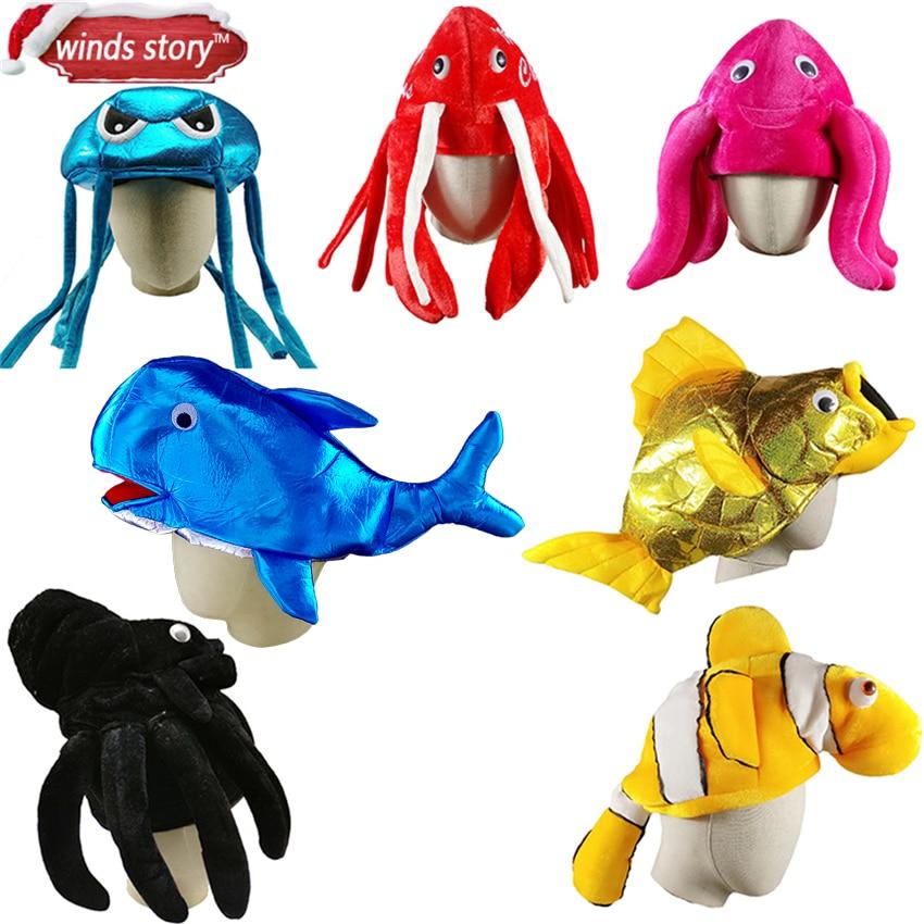 1pc Δημιουργικό καπέλο θαλάσσιων ζώων Αποκριάτικος ενυδρείο Χριστουγεννιάτικο Cosplay Χριστουγεννιάτικο φόρεμα γενεθλίων Κόκκινο καπέλο για παιδιά Παιδικό δώρο για ενήλικες