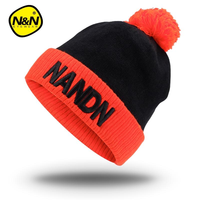 NANDN Աշուն ձմեռային գլխարկ unisex- ի տրիկոտաժե Skulliesl- ի գլխարկի դահուկի գլխարկ