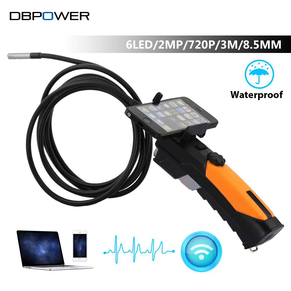 HD 720P Wireless WIFI Endoscope Video Inspection Snake Camera 2.0 Mega Pixels 1M/3M Cable 8.5mm  6 LED 2.4GHZ Borescope Android