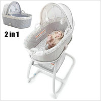2 in 1 Baby Rocking Bed with toy rack, 2 in 1 Bassinet To Cradle, thicken steel pipe frame baby rocking cradle with music