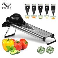 TTLIFE V Blade Stainless Steel Fruit and Food Mandoline Slicer Includes 5 Different Inserts Vegetable Cutter Grater Random Color