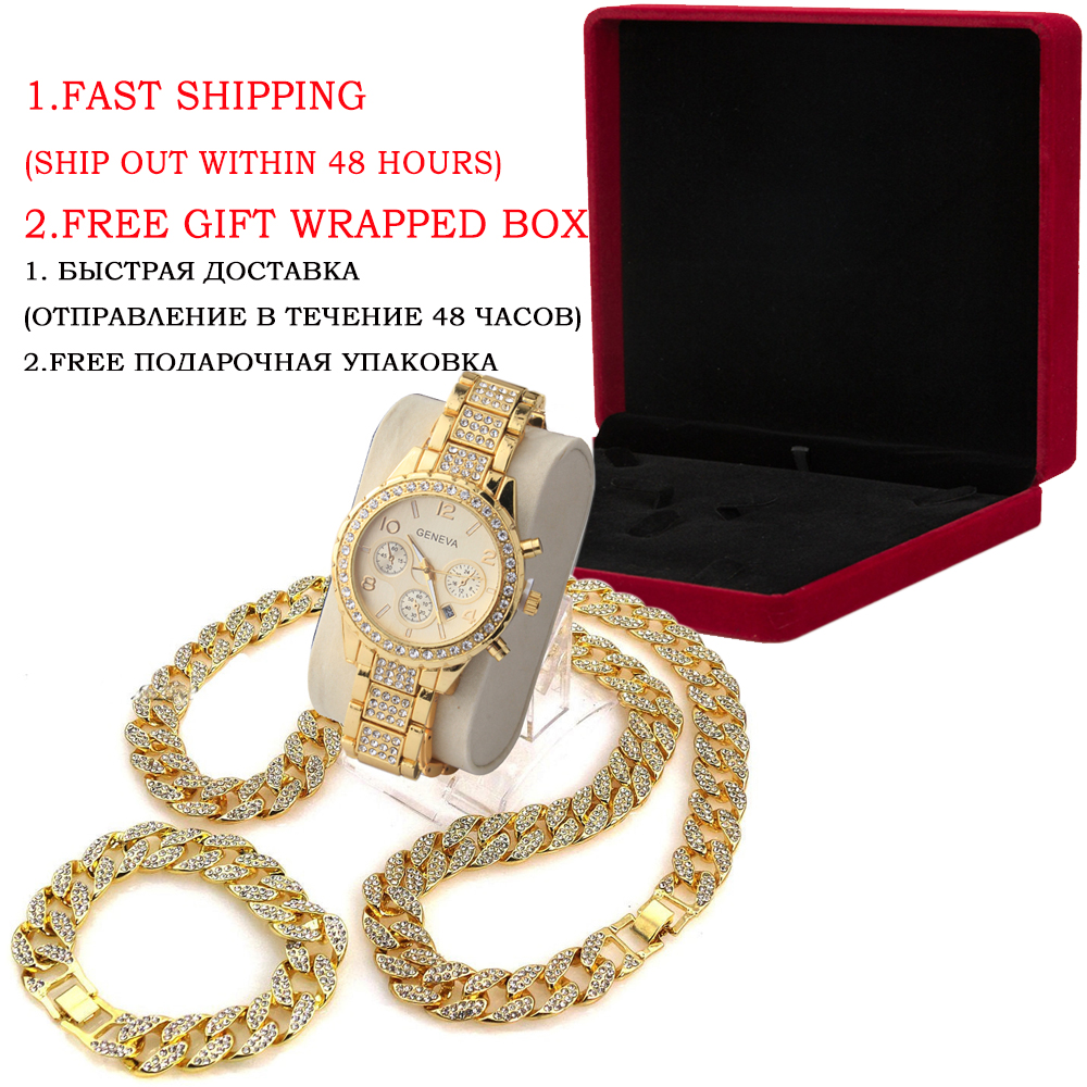 3 Pcs / Set Blingbling Hip Hop Shining stones Watch and Necklace 4